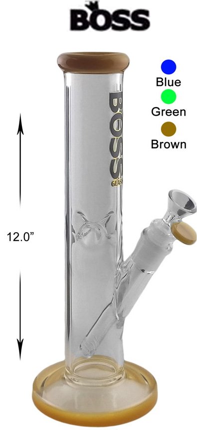 12 Inch Boss Glass Straight Shooter Water Pipe
