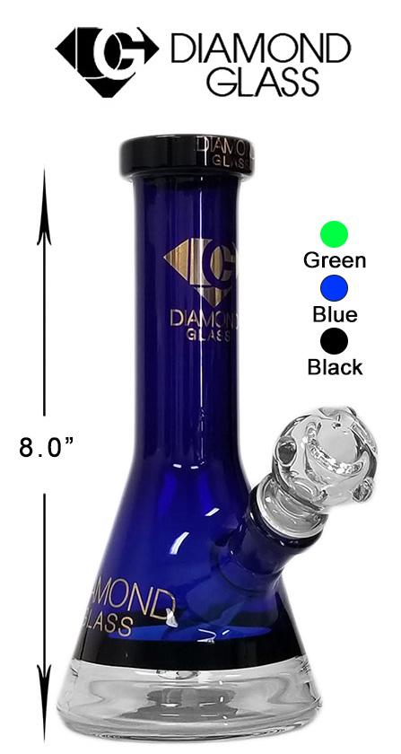 8 Inch Blue Black Diamond Glass Beaker Water Pipe