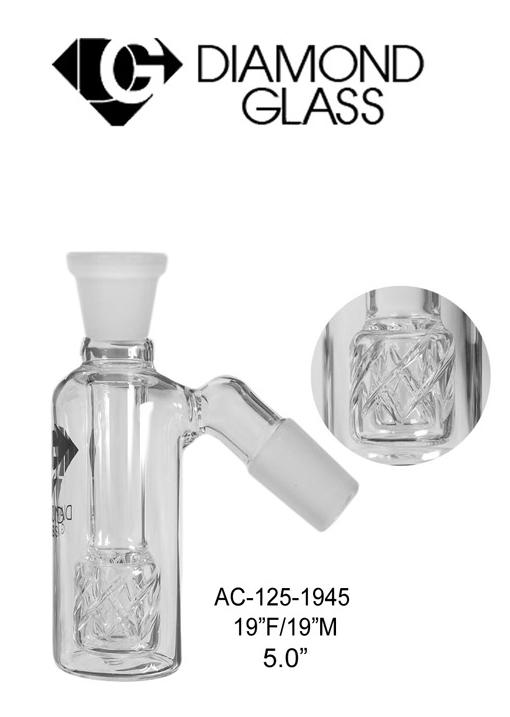 19 Inch F & M 5 Inch Diamond Glass Clear Ash Catcher
