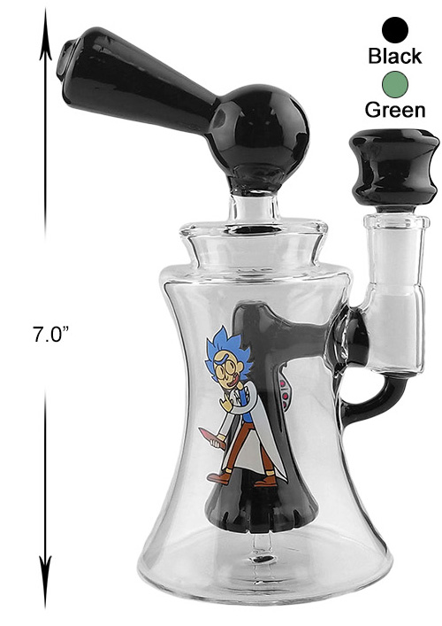 7 Inch Black Rick And Morty Perc Water Pipe