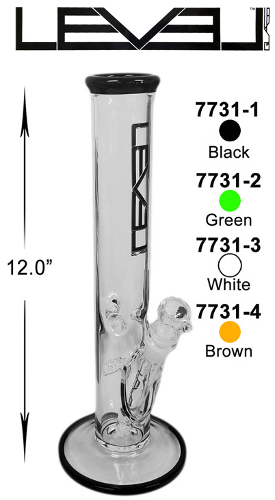 12 Inch White Black Level Straight Shooter Water Pipe