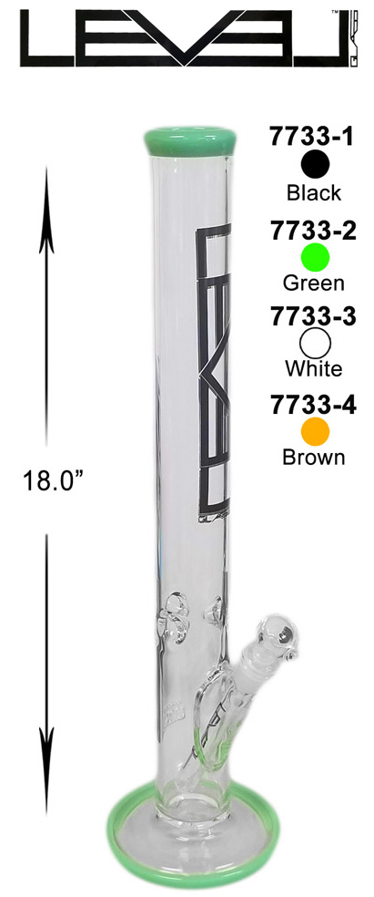 18 Inch White Green Black Level Straight Shooter Water Pipe