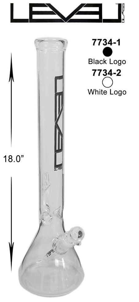 18 Inch White Logo Black Logo Level Straight Shooter Water Pipe